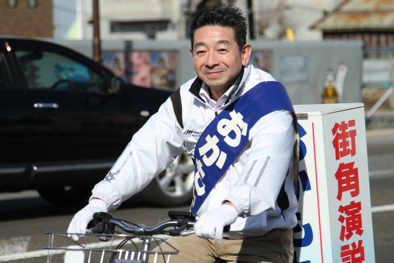 おかもと行人自転車での選挙運動